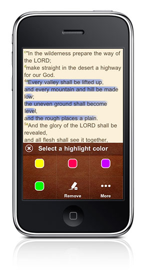 Highlight Verse in iPhone BibleReader