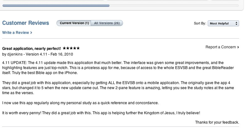 BibleReader Review on iTunes
