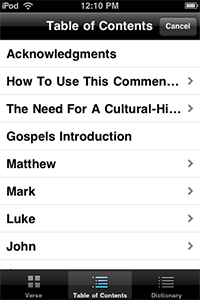 IVP Bible Background Commentary, Table of Contents