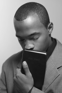 man and bible bw