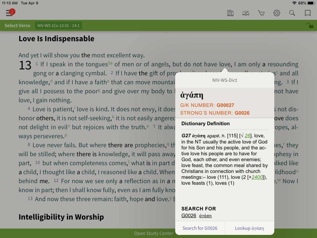 NIV Word Study Bible Strongs gk