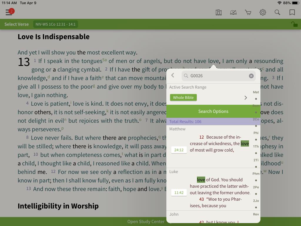 NIV Word Study Bible  keyed number lookup
