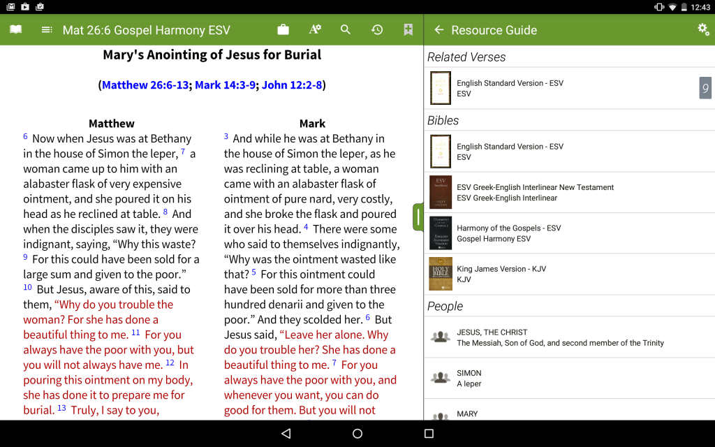 Harmony of the Gospels - Android Tablet