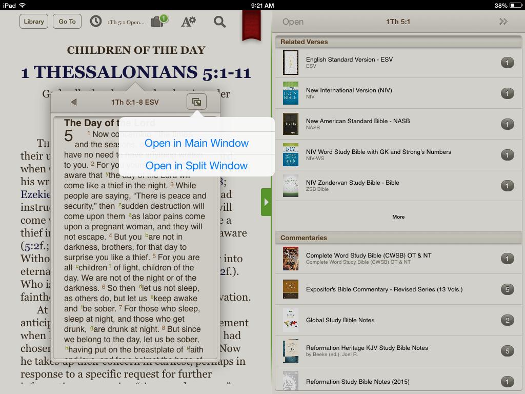 Open the Bible text in a Split Window