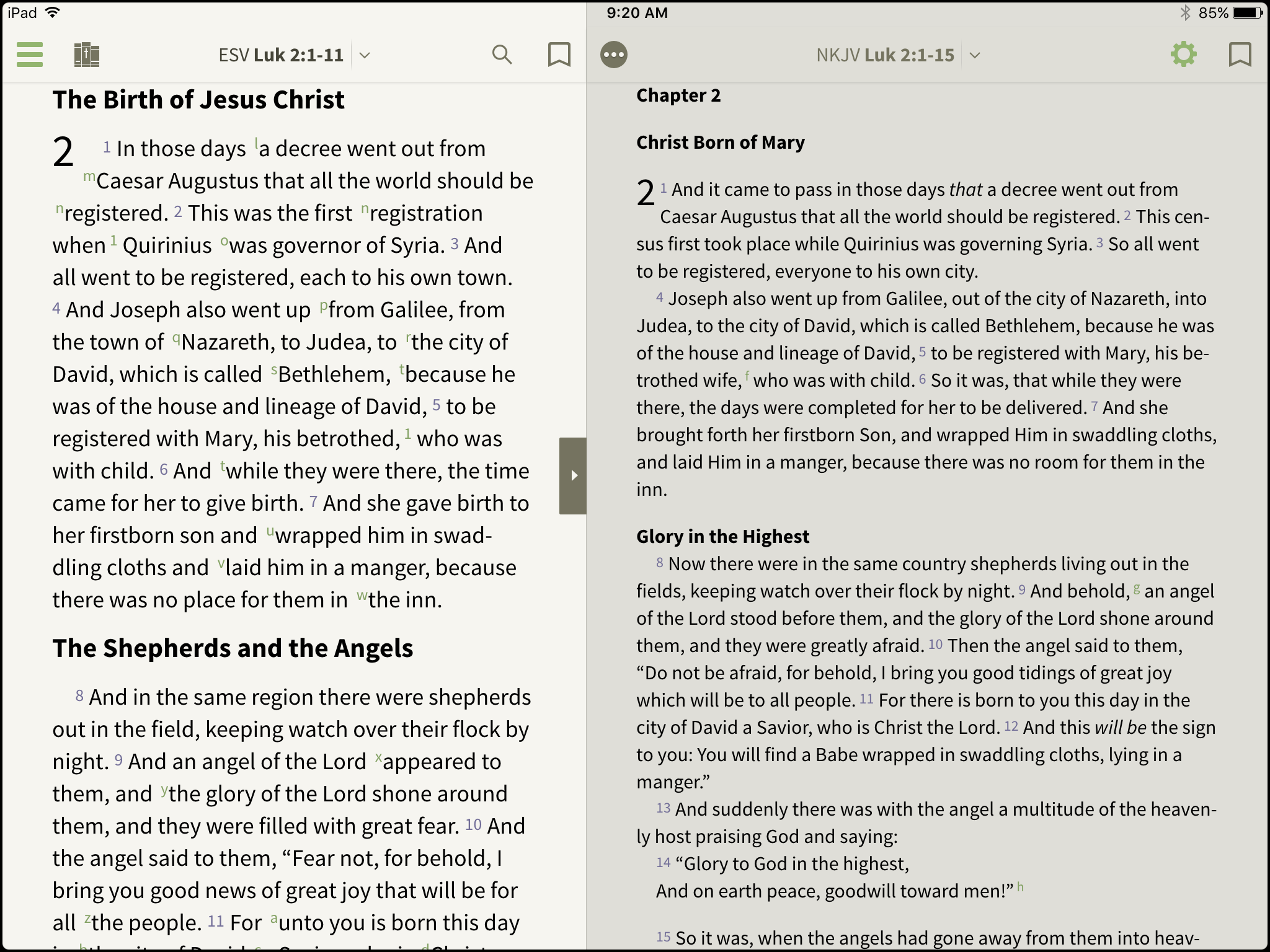 read bibles side by side in bible olive tree blog