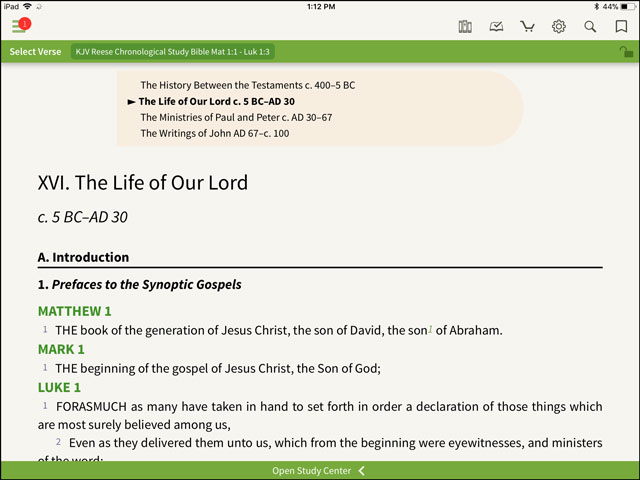Look Inside: Reese Chronological Study Bible - Olive Tree Blog
