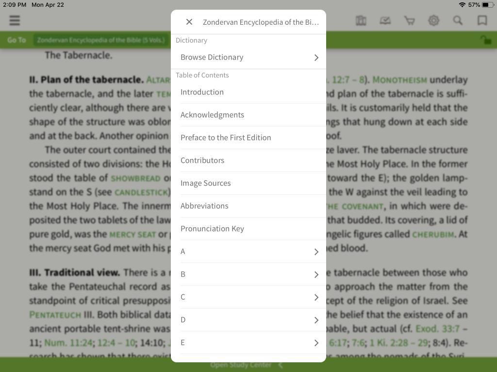 Zondervan Encyclopedia of the Bible in the Olive Tree Bible App 6