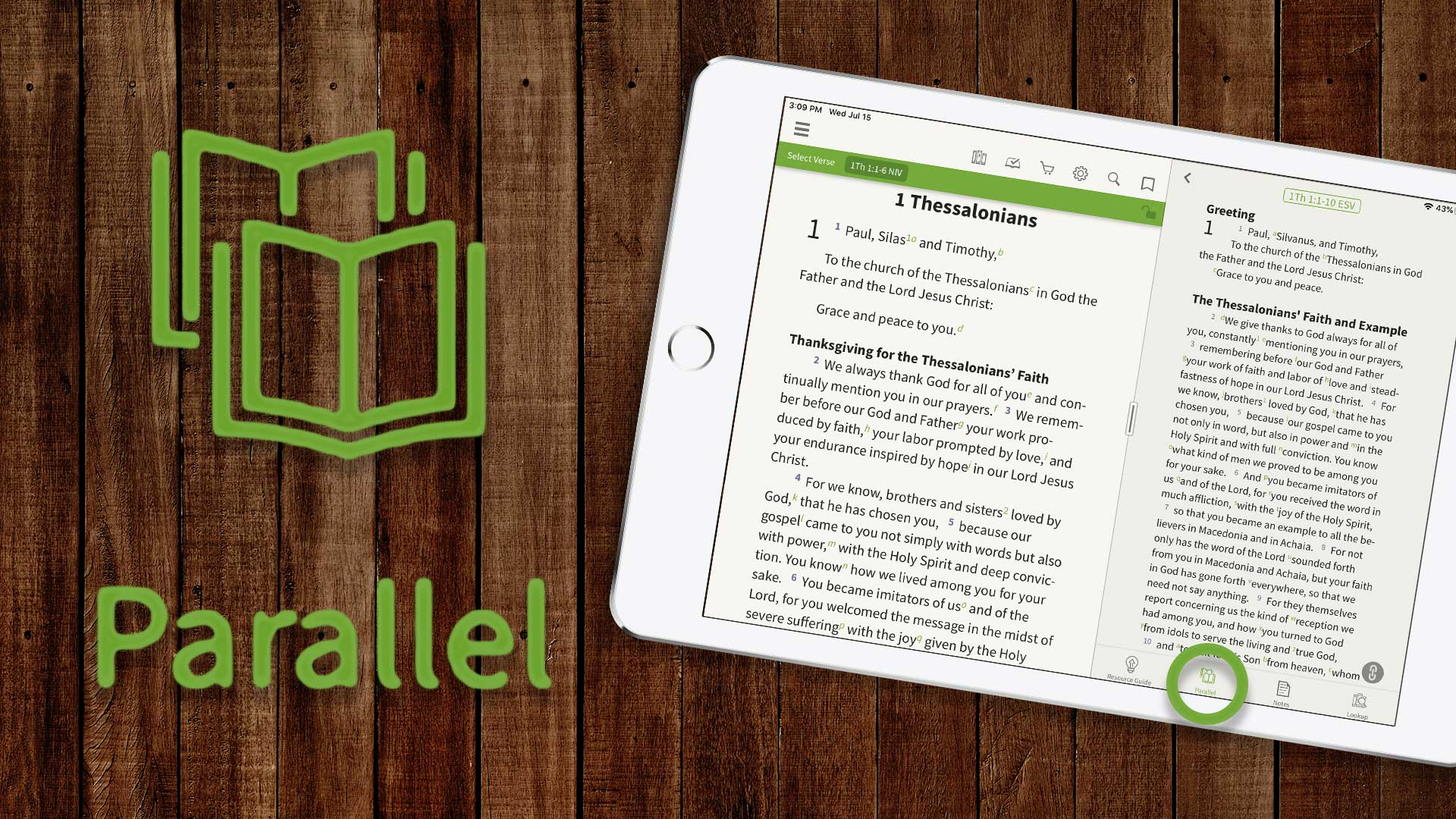 parallel bible tab and study