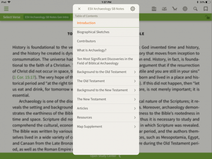 ESV Archaeology Study Bible table of contents