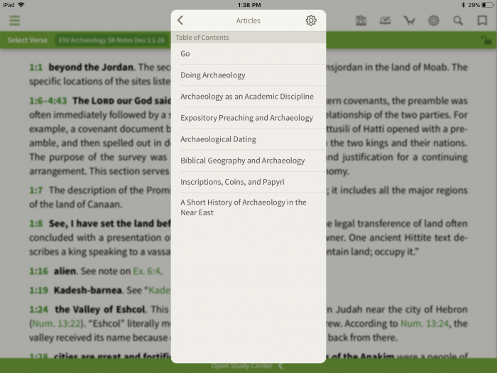 ESV archaeology study bible articles