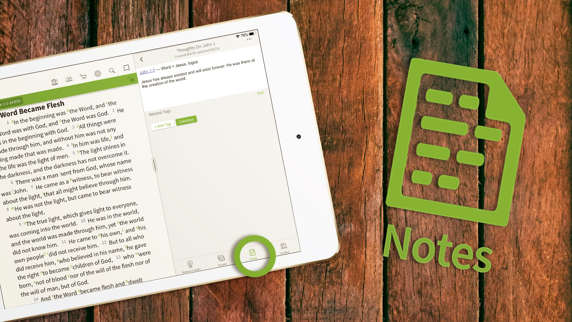 notes in the olive tree bible app