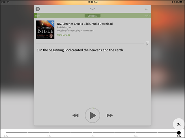 audio bible book speed control app