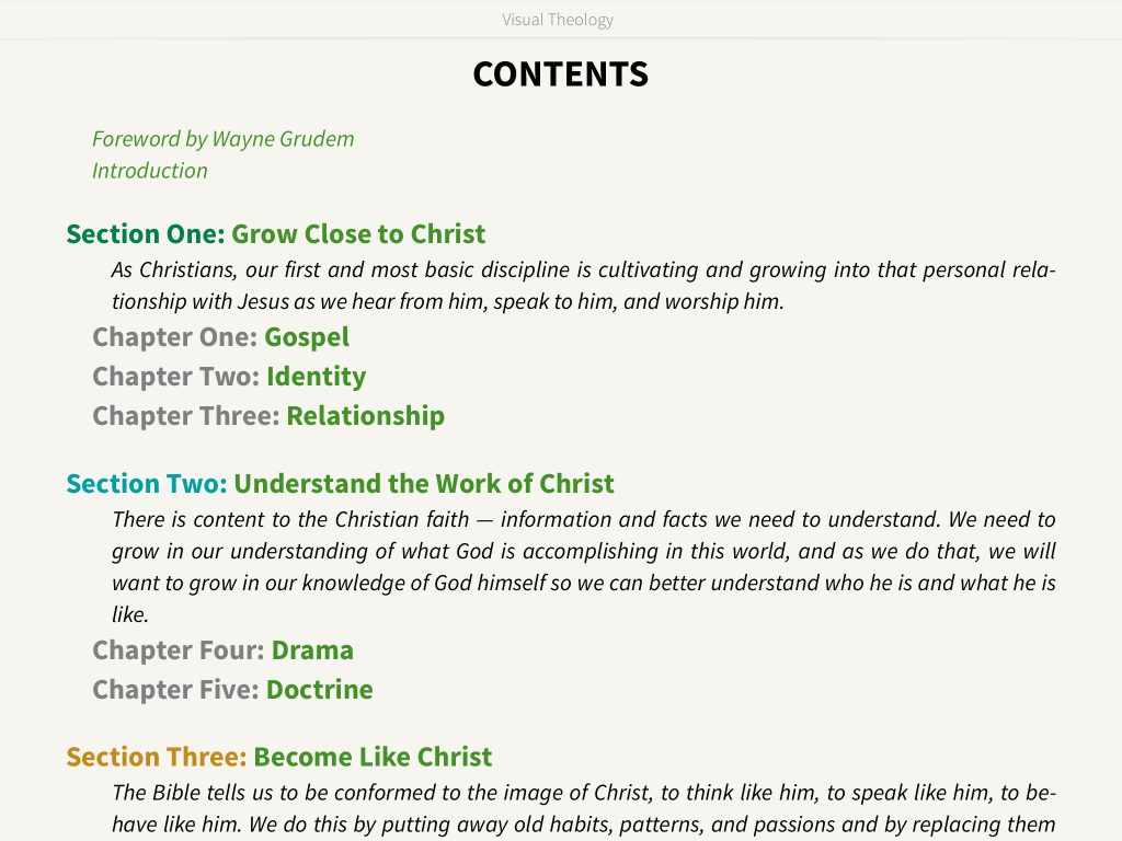 Visual Theology Contents