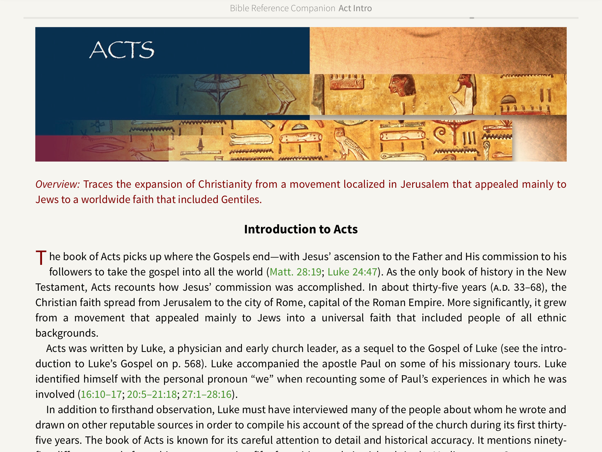 Introduction to Acts Bible Reference Companion