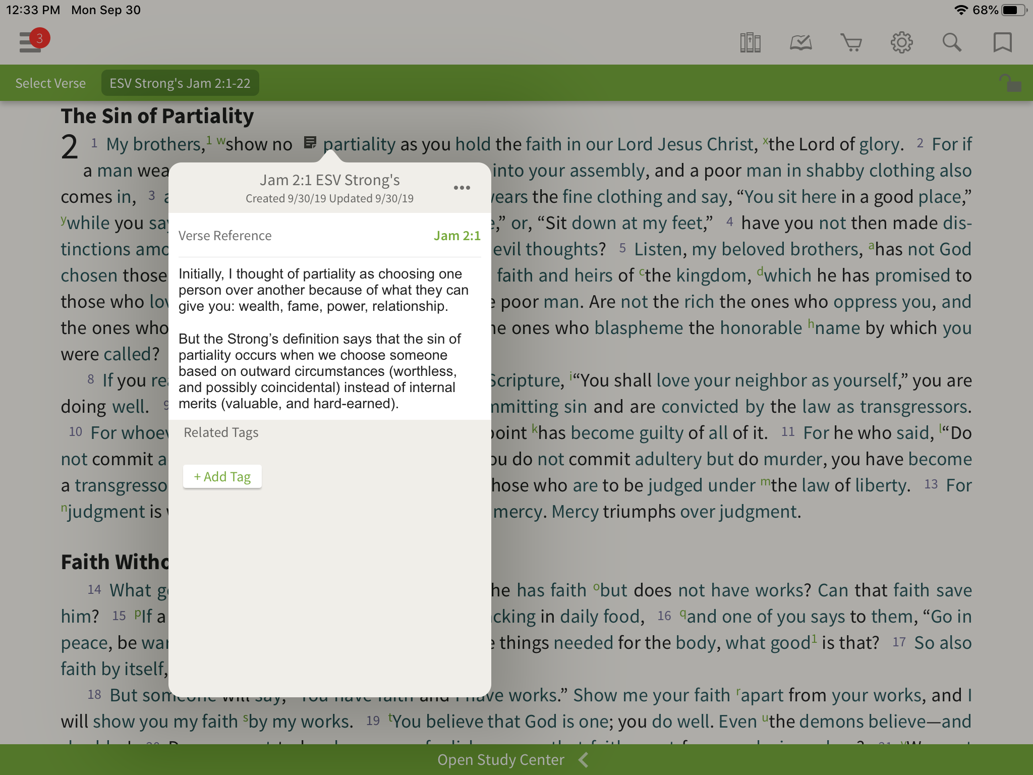 Taking Notes in the Olive Tree Bible App