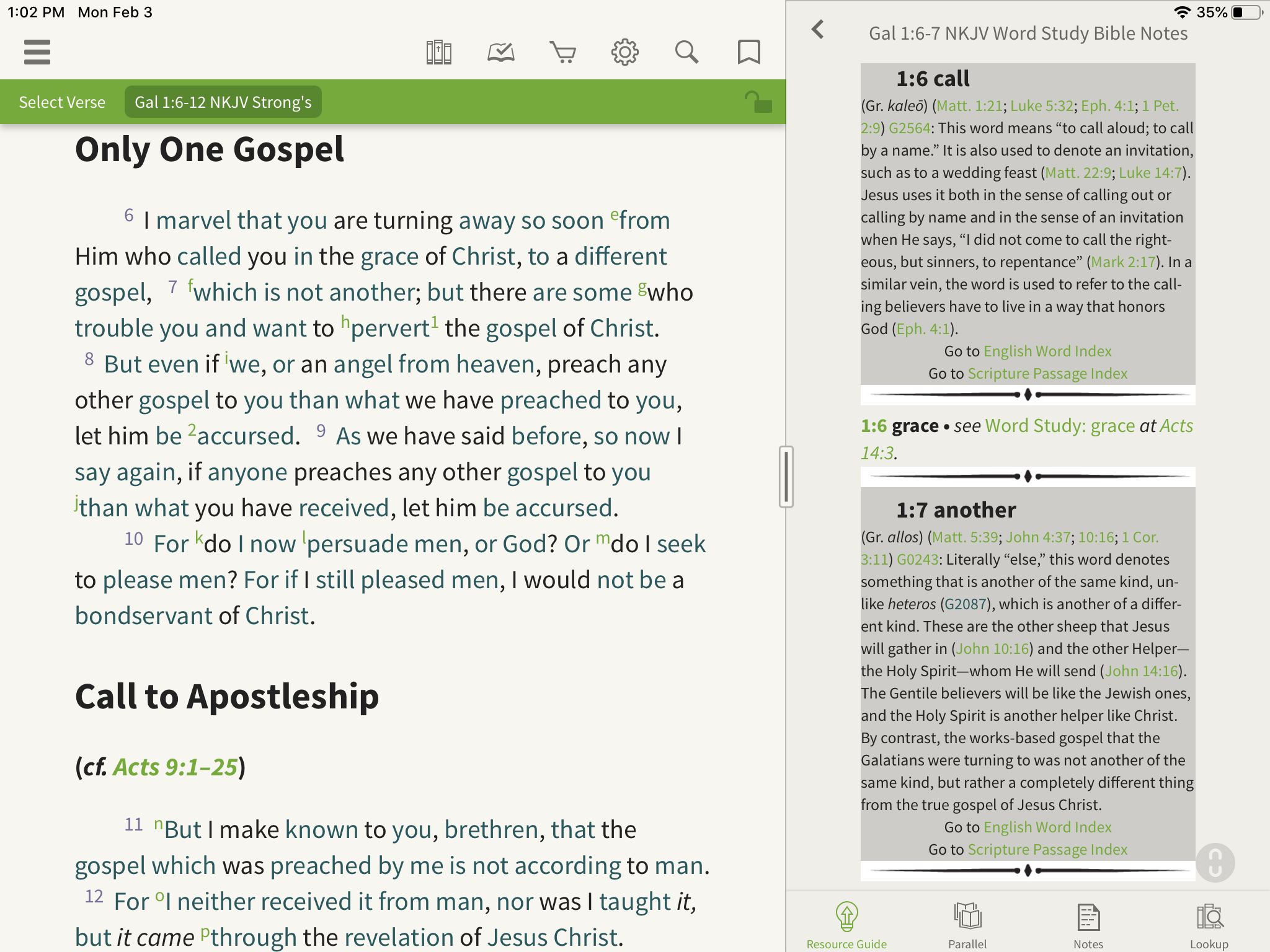 Word Study Bible notes