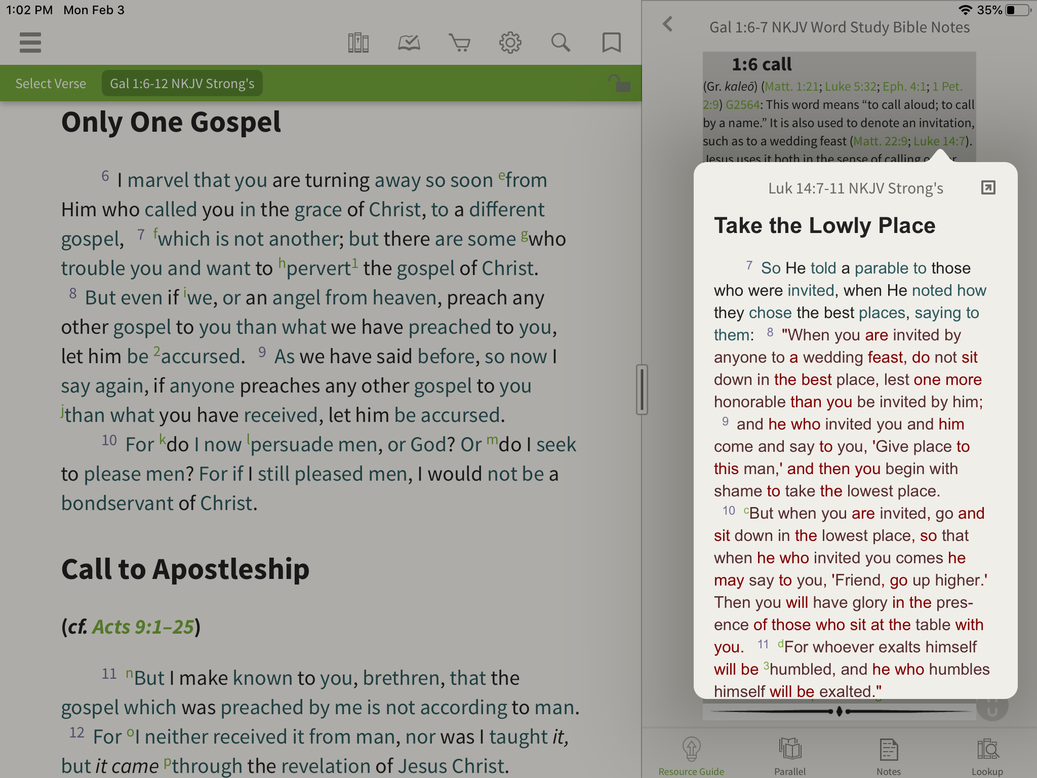 hyperlinked notes in the word study bible