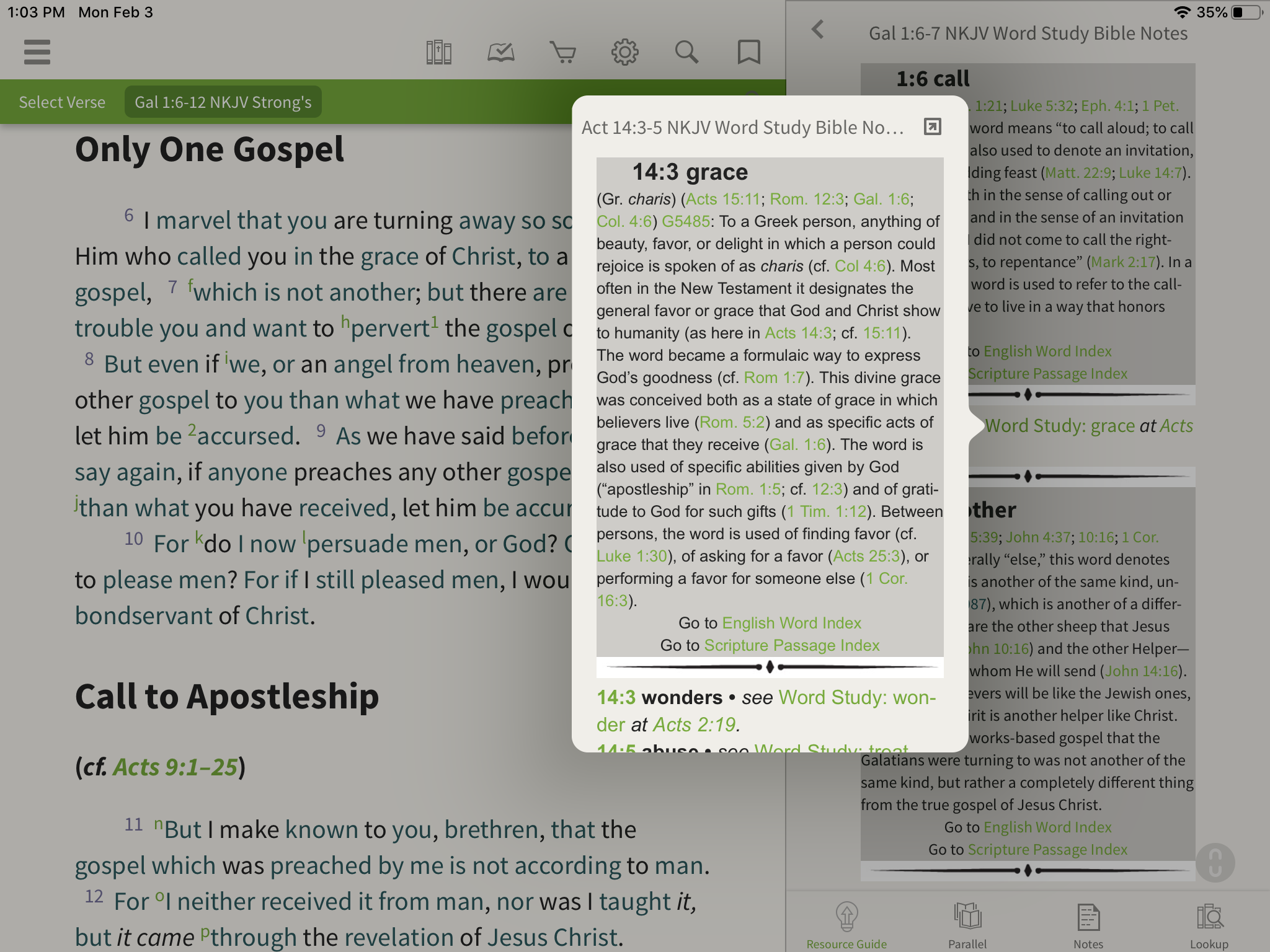 pop up window with word studies in the olive tree bible app