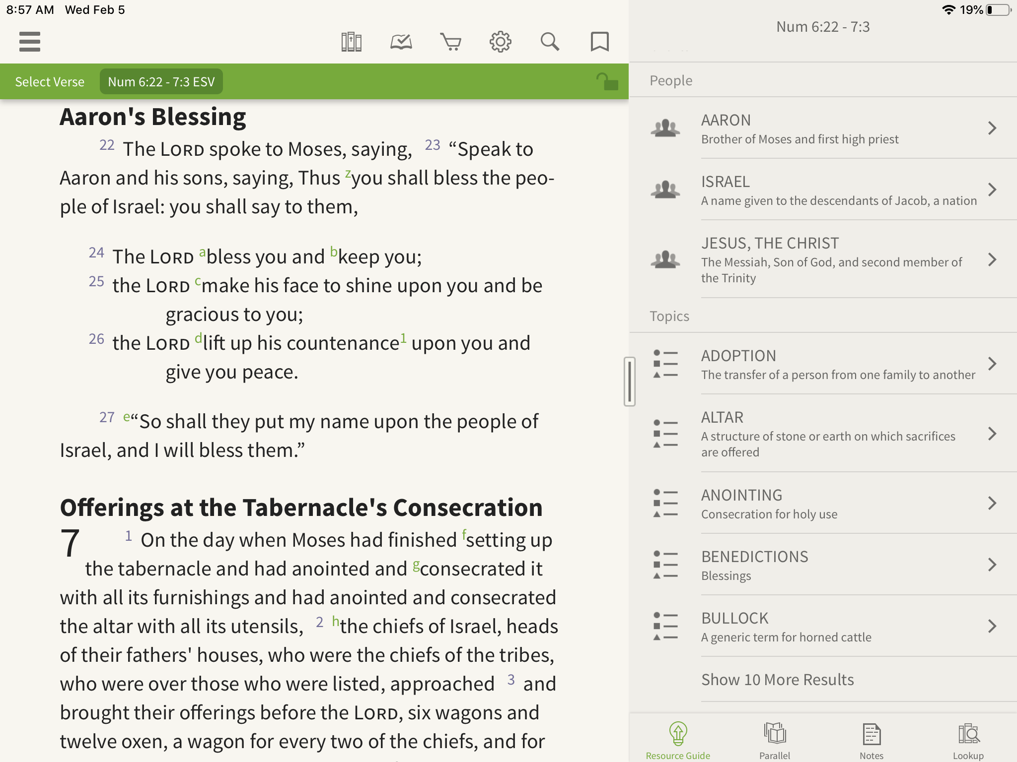 Olive Tree Bible App open to resource guide