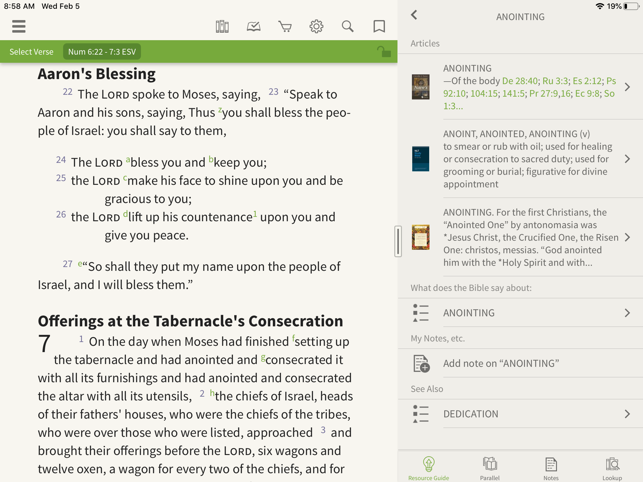 Olive Tree Bible App open to articles on anointing