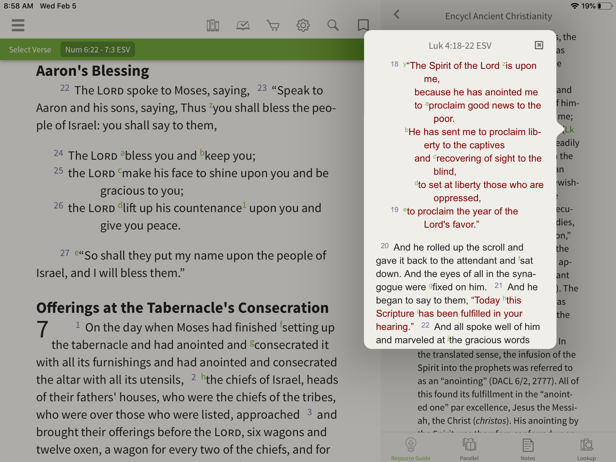 App open to Encyclopedia of Ancient Christianity with pop-up window containing verse reference