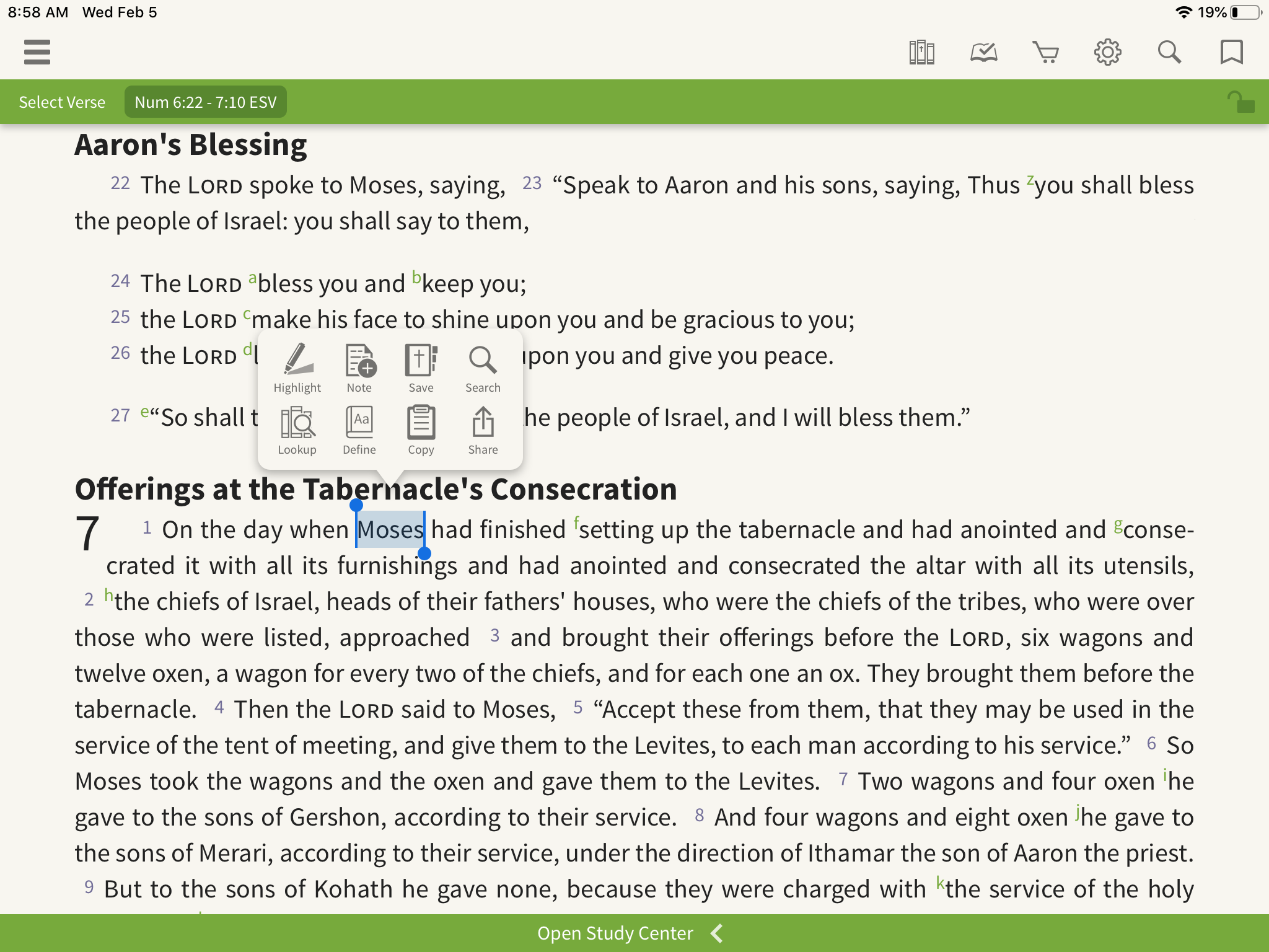 Olive tree Bible App open to Numbers 6