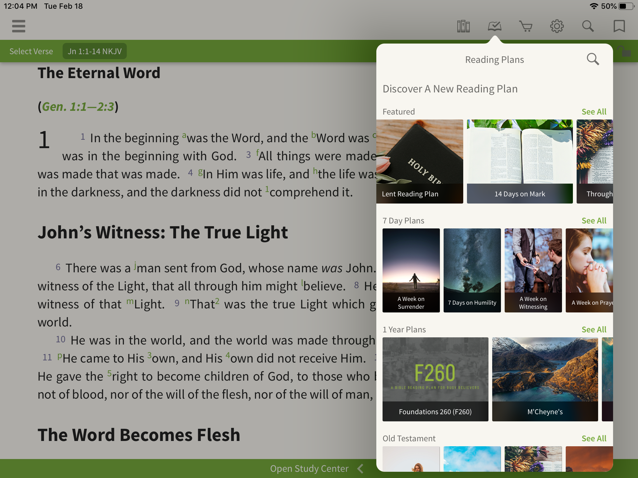 reading plans open in the olive tree bible app