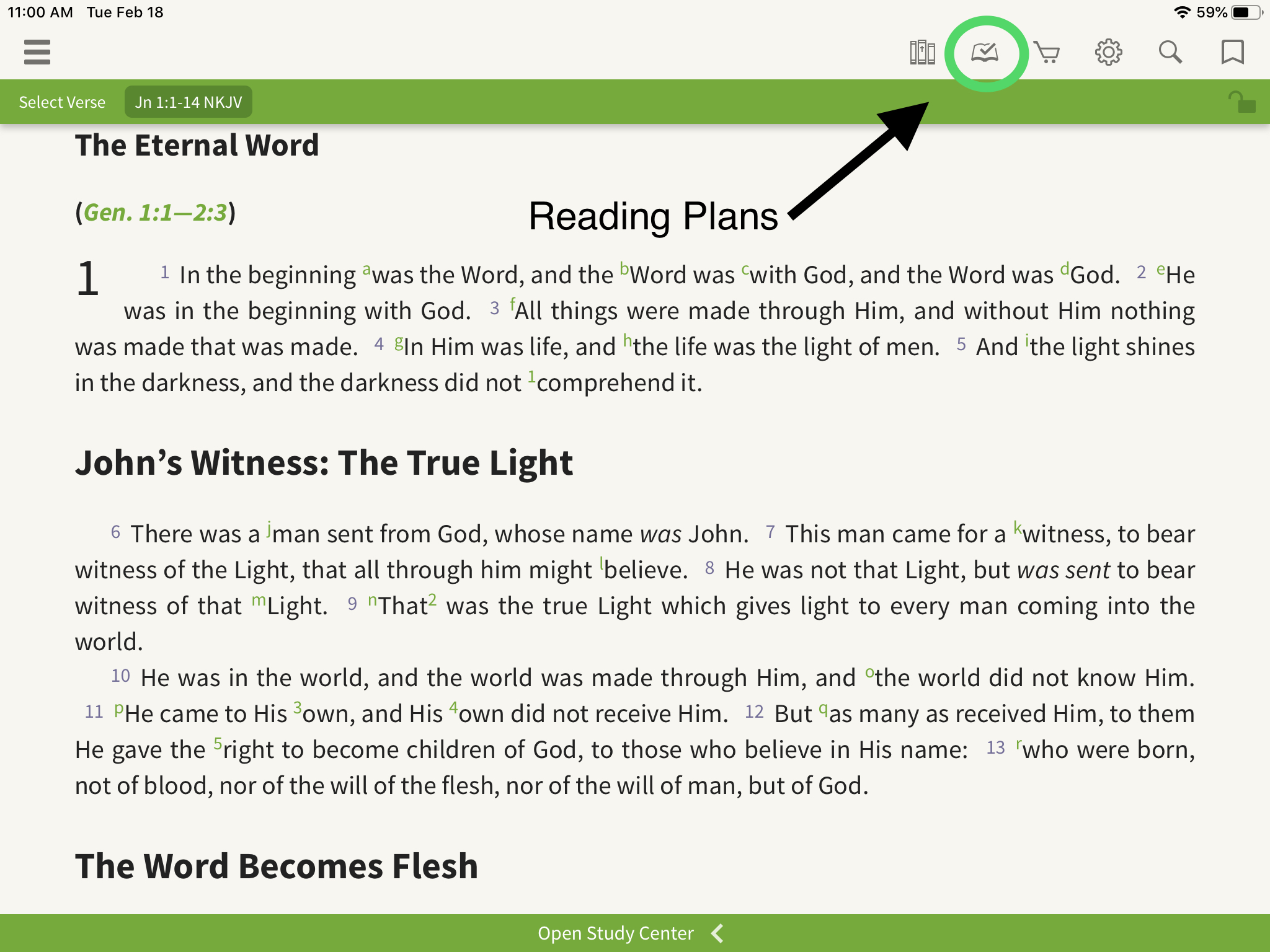 Olive Tree Bible App arrow pointing toward reading plan page