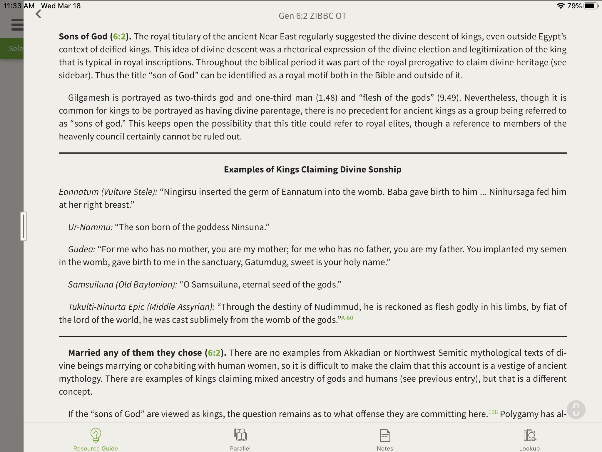 Nephilim and Sons of God information inside the Zondervan Illustrated Bible Backgrounds Commentary