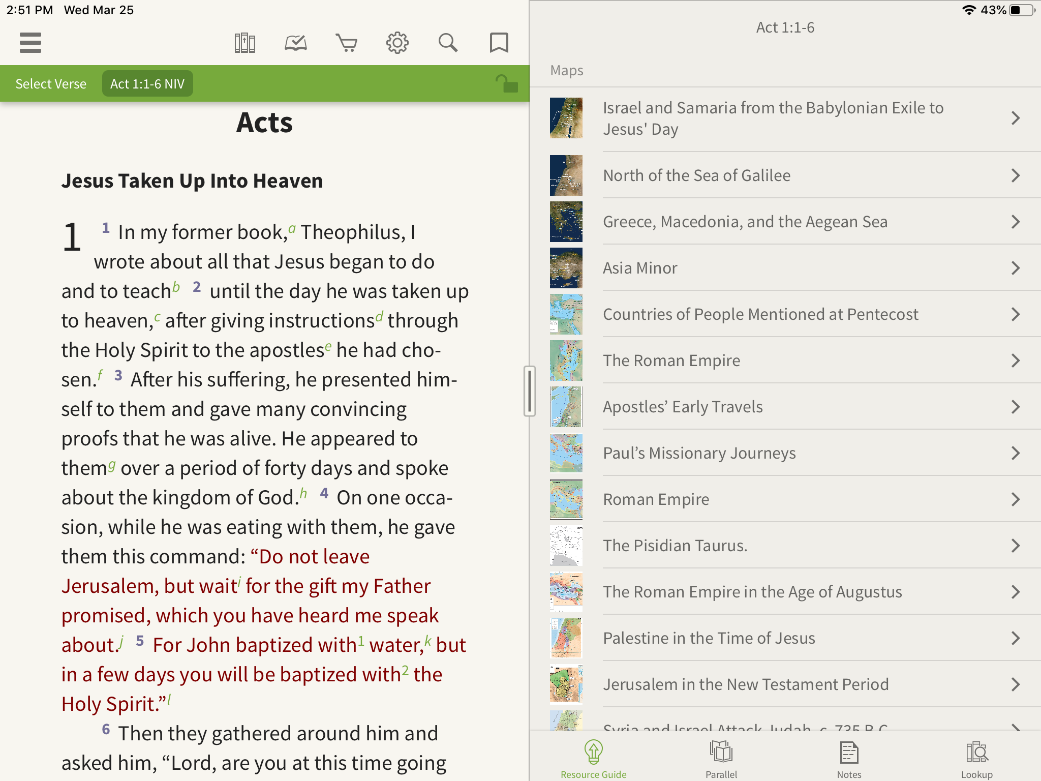 maps inside the Olive Tree Bible App