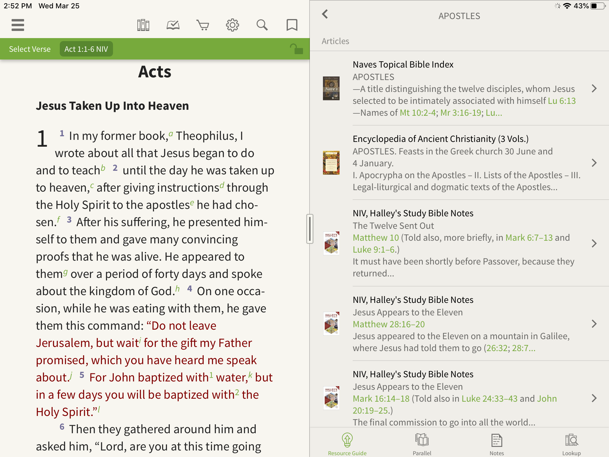 a list of articles on Apostles