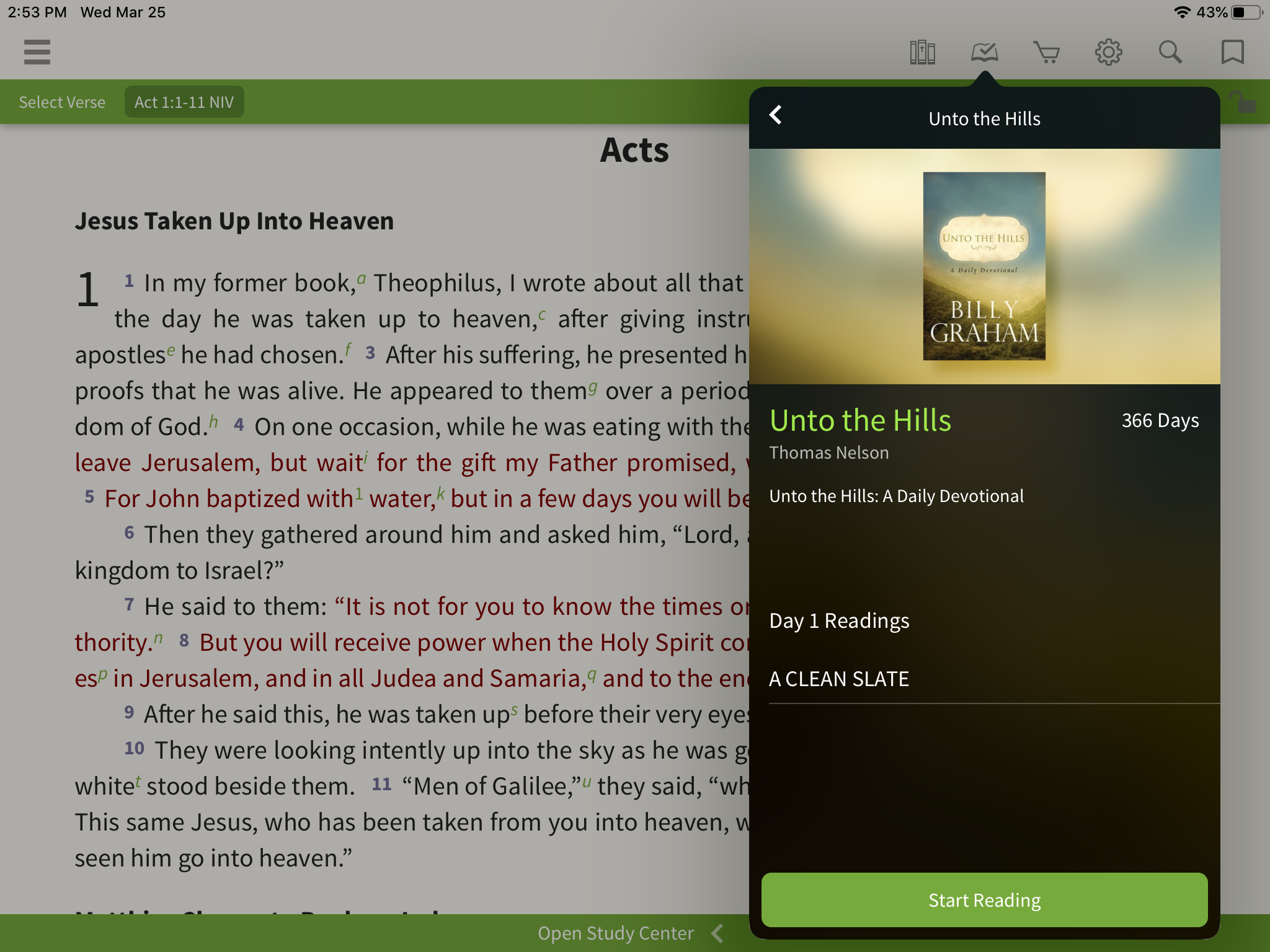 Unto the Hills devotional reading plan in the app