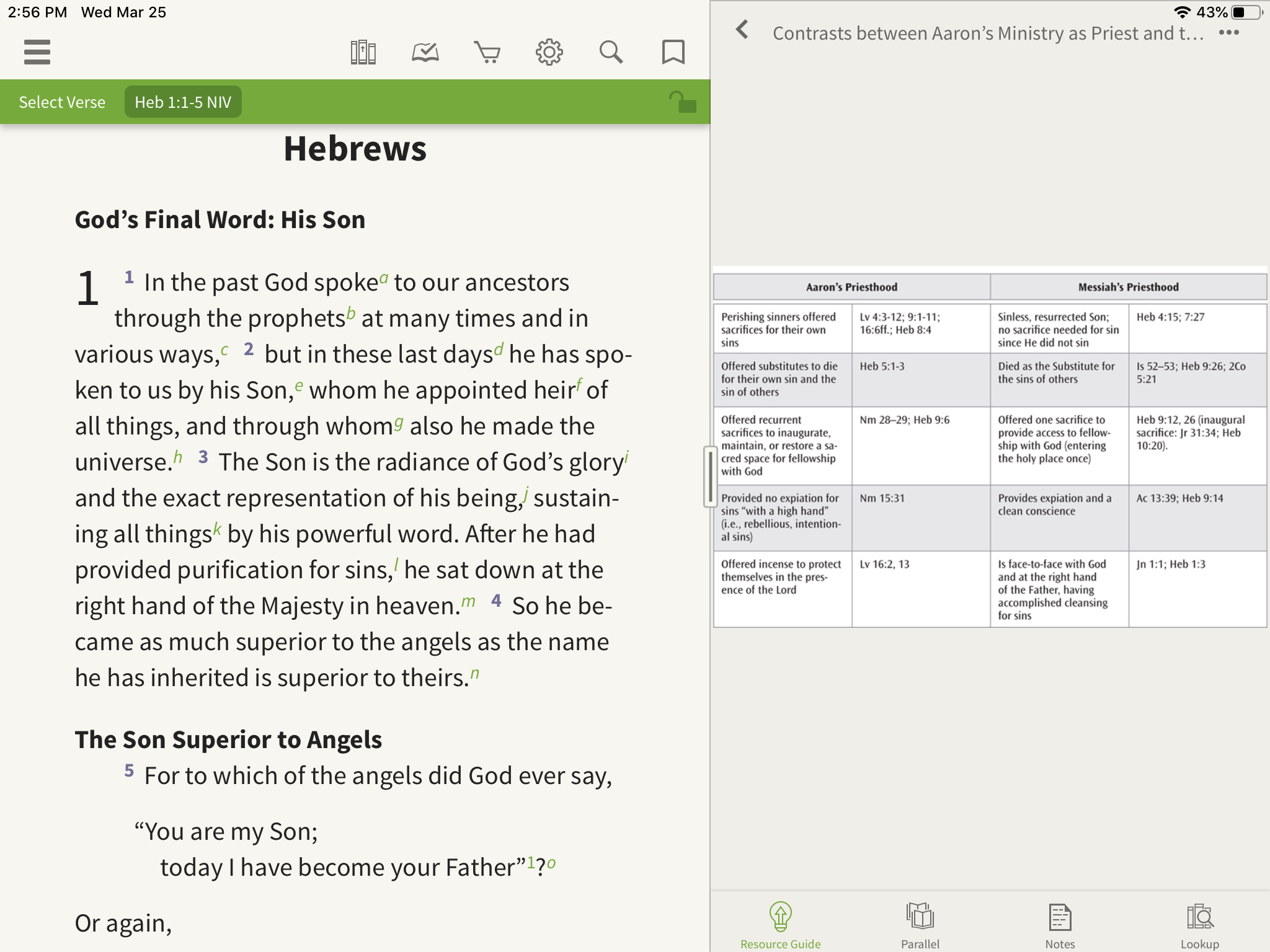 an image of charts in the Olive Tree Bible App covering Hebrews 1