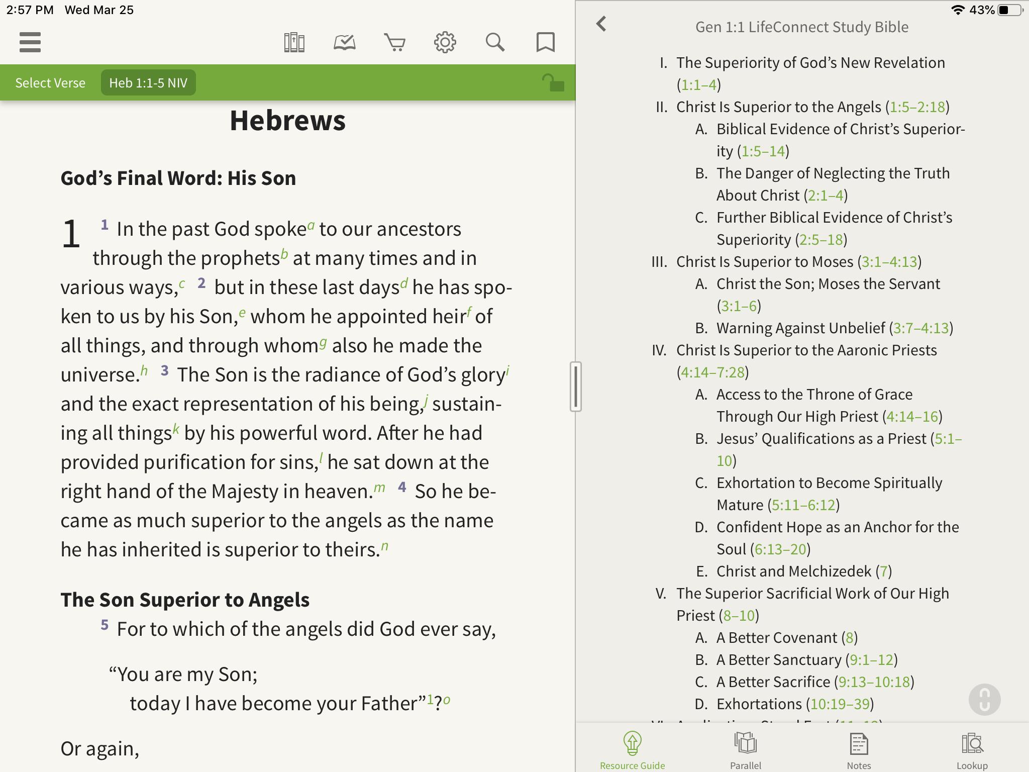 Outlines of Hebrews