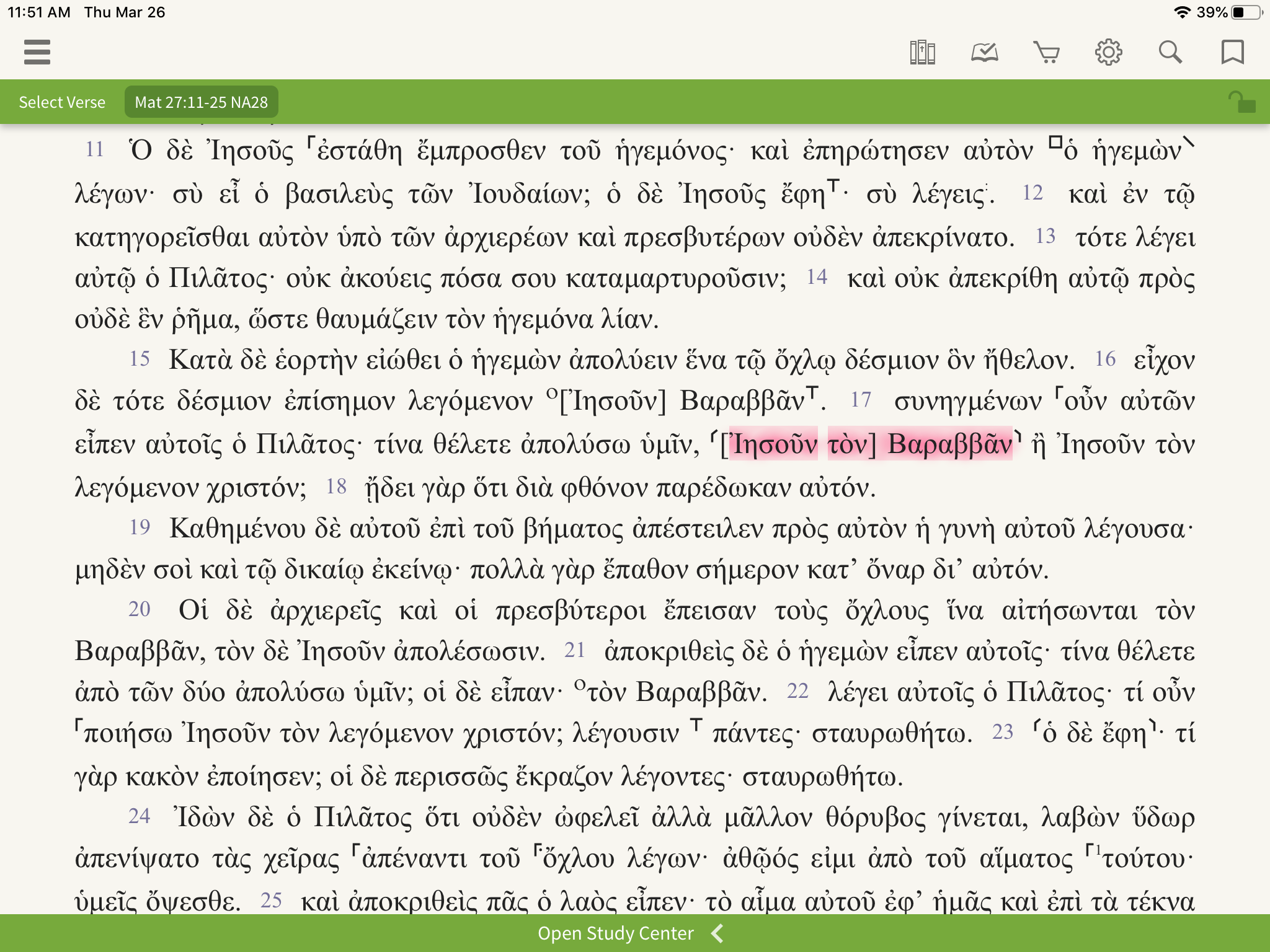 NA28 open to Matthew 27, passage about Barabbas