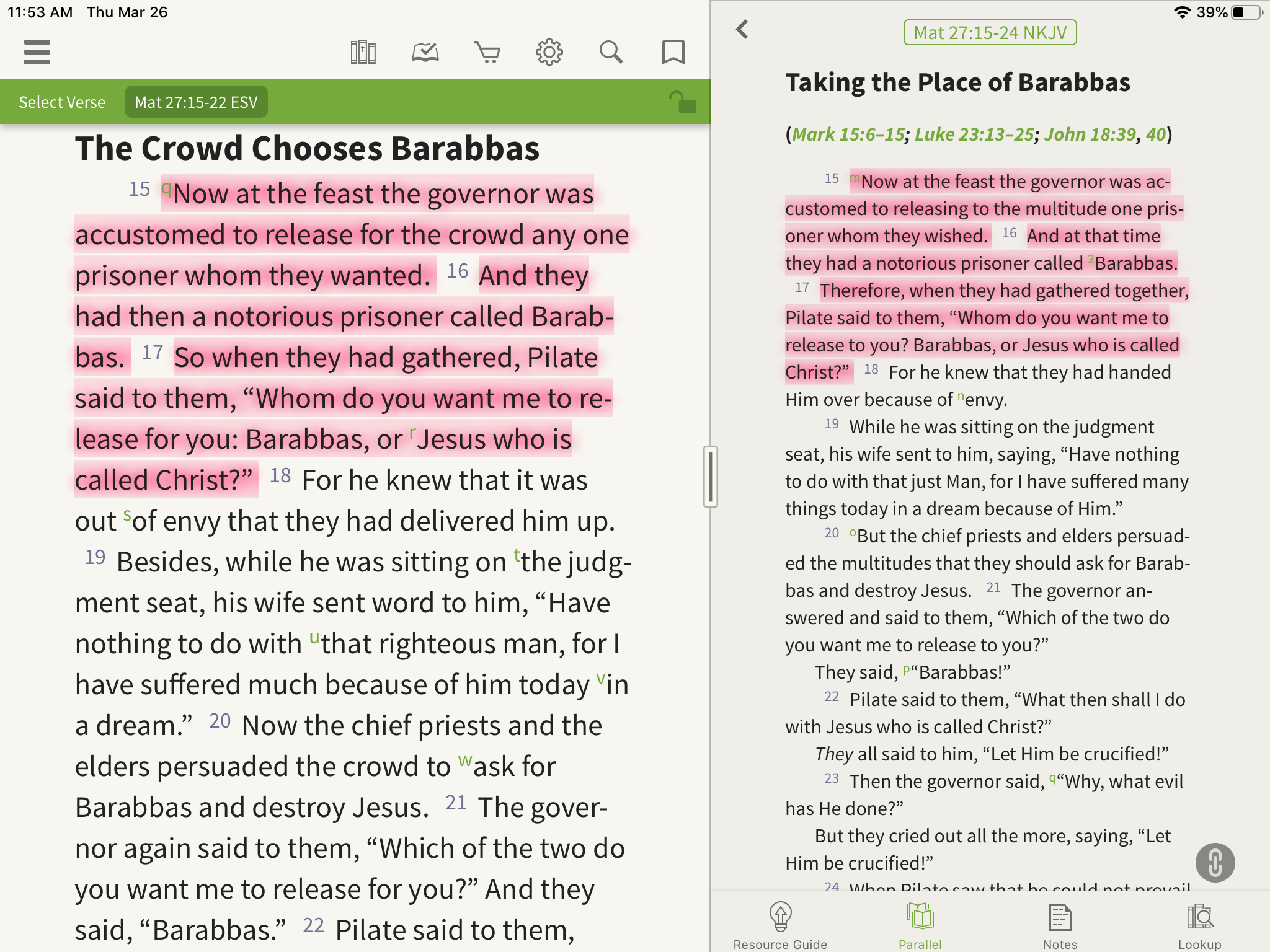 Olive Tree Bible App with Parallel Bible open