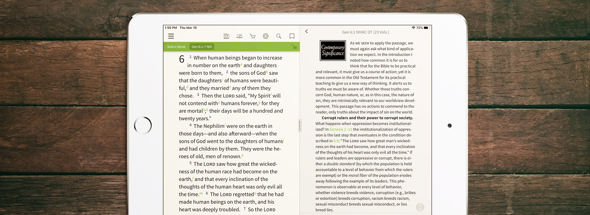 NIV Application Commentary Showing Contemporary Significance section on Nephilim passage