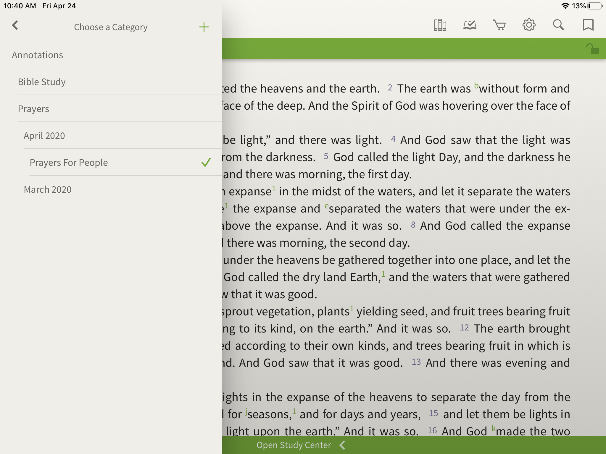 categories for prayer journaling in the olive tree bible app