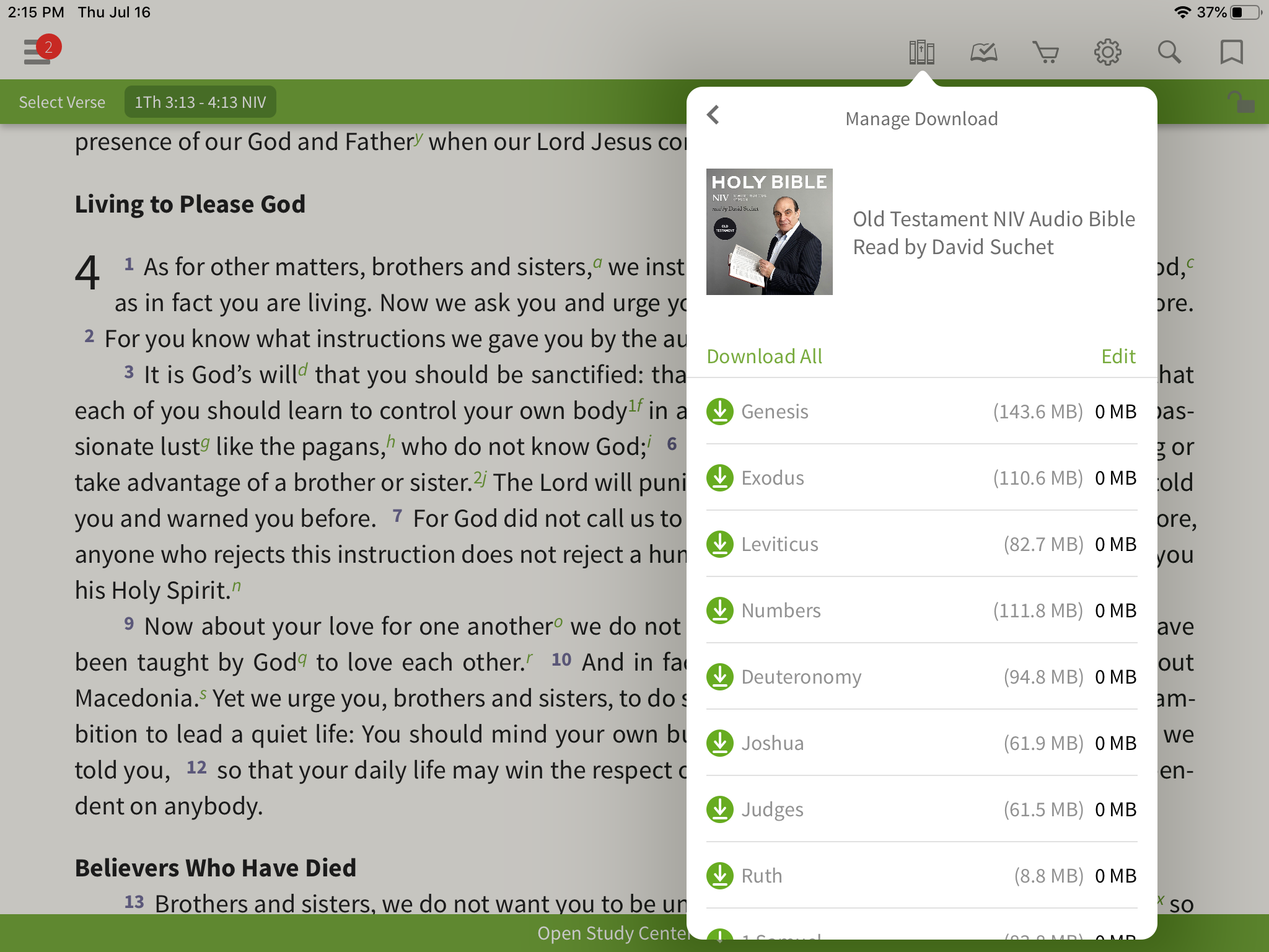 Downloading audio Bibles in the Olive Tree Bible App
