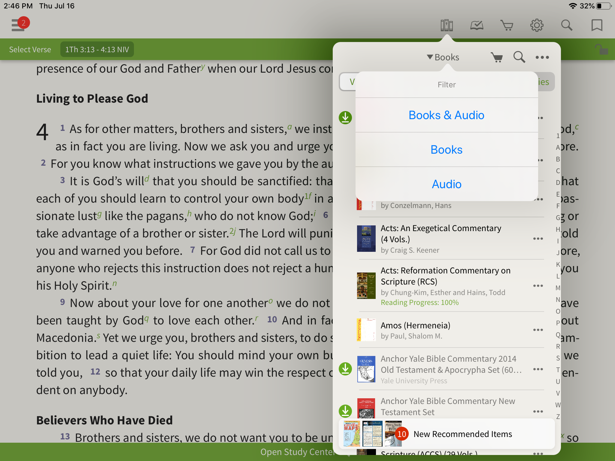Switching between books and audio in the library of the Olive Tree bible App