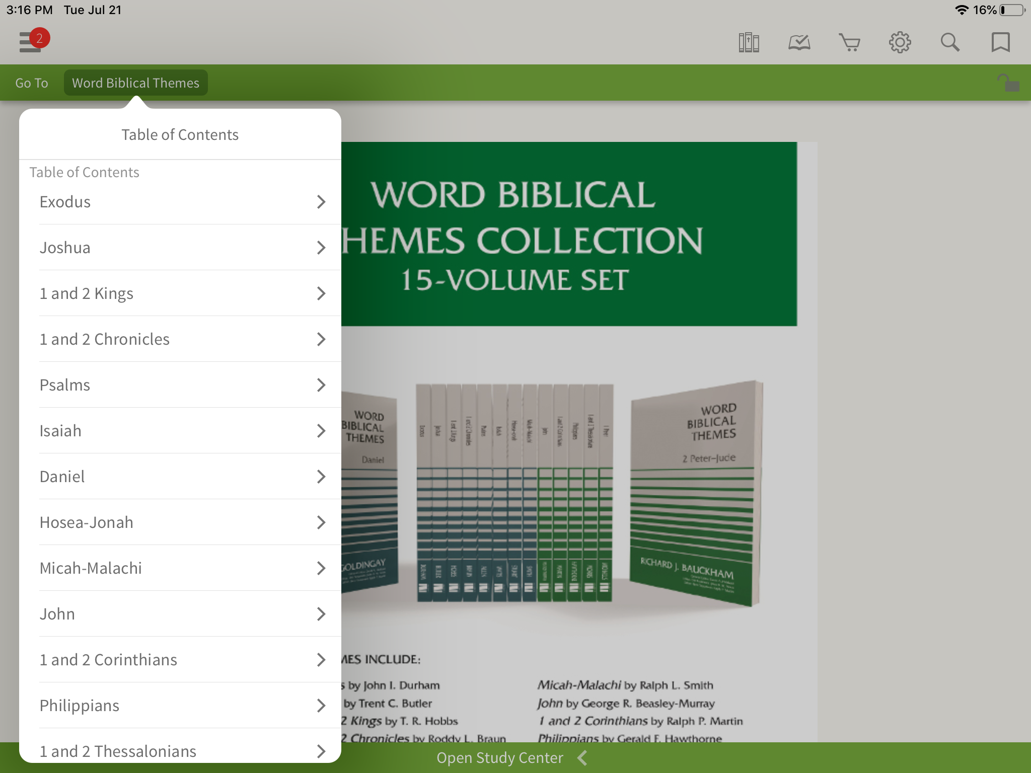 Table of Contents for the entire Word Biblical Themes series