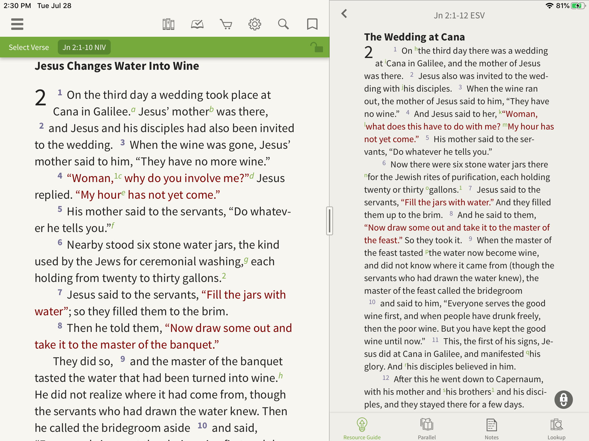 two bible translations in the olive tree bible app
