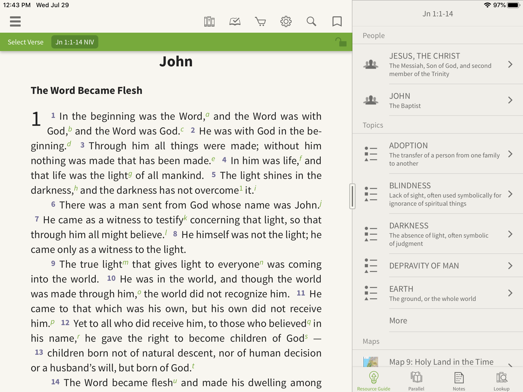 opening people, topics, and places in the olive tree bible app