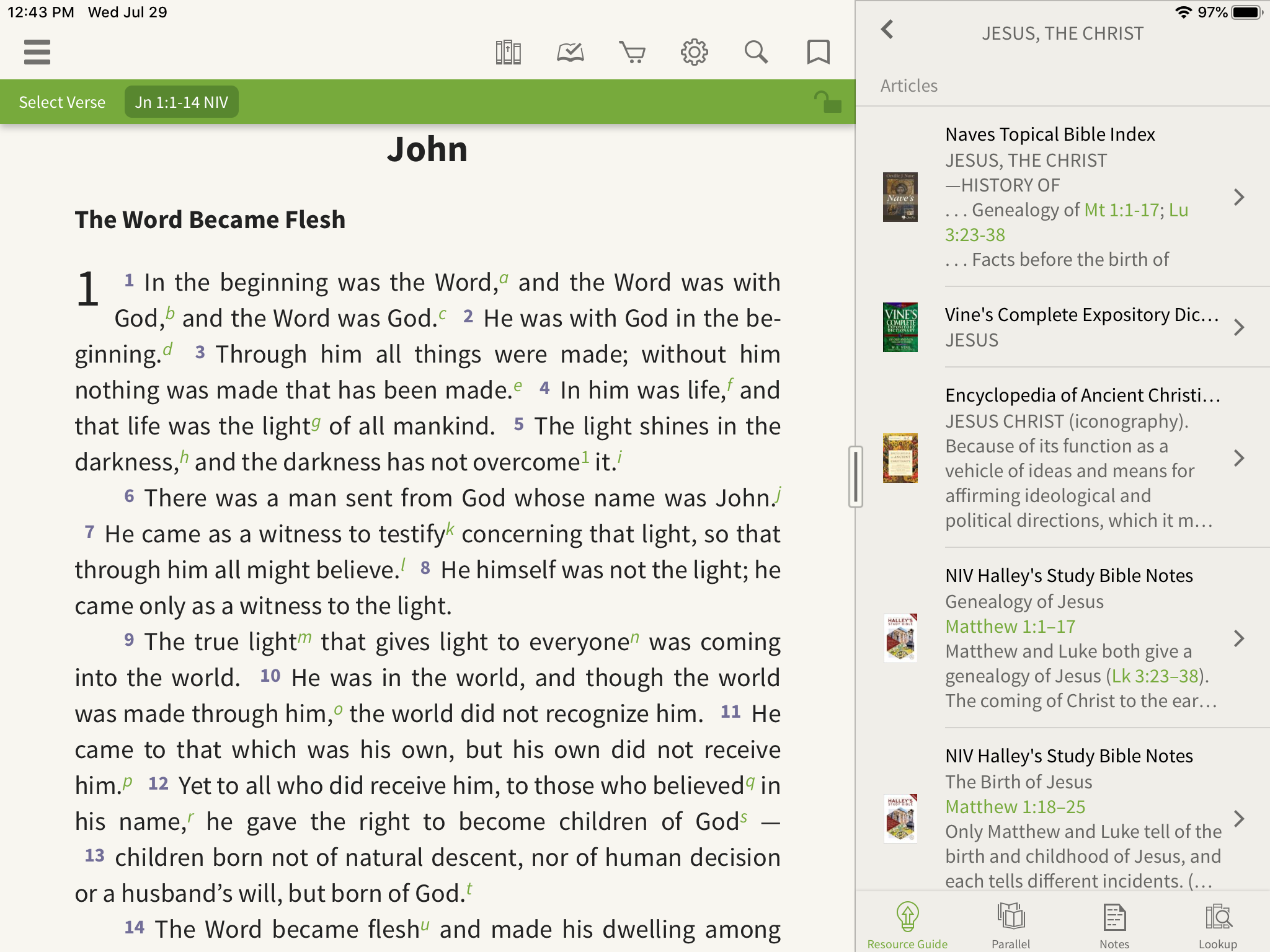 articles on Jesus in the resource guide