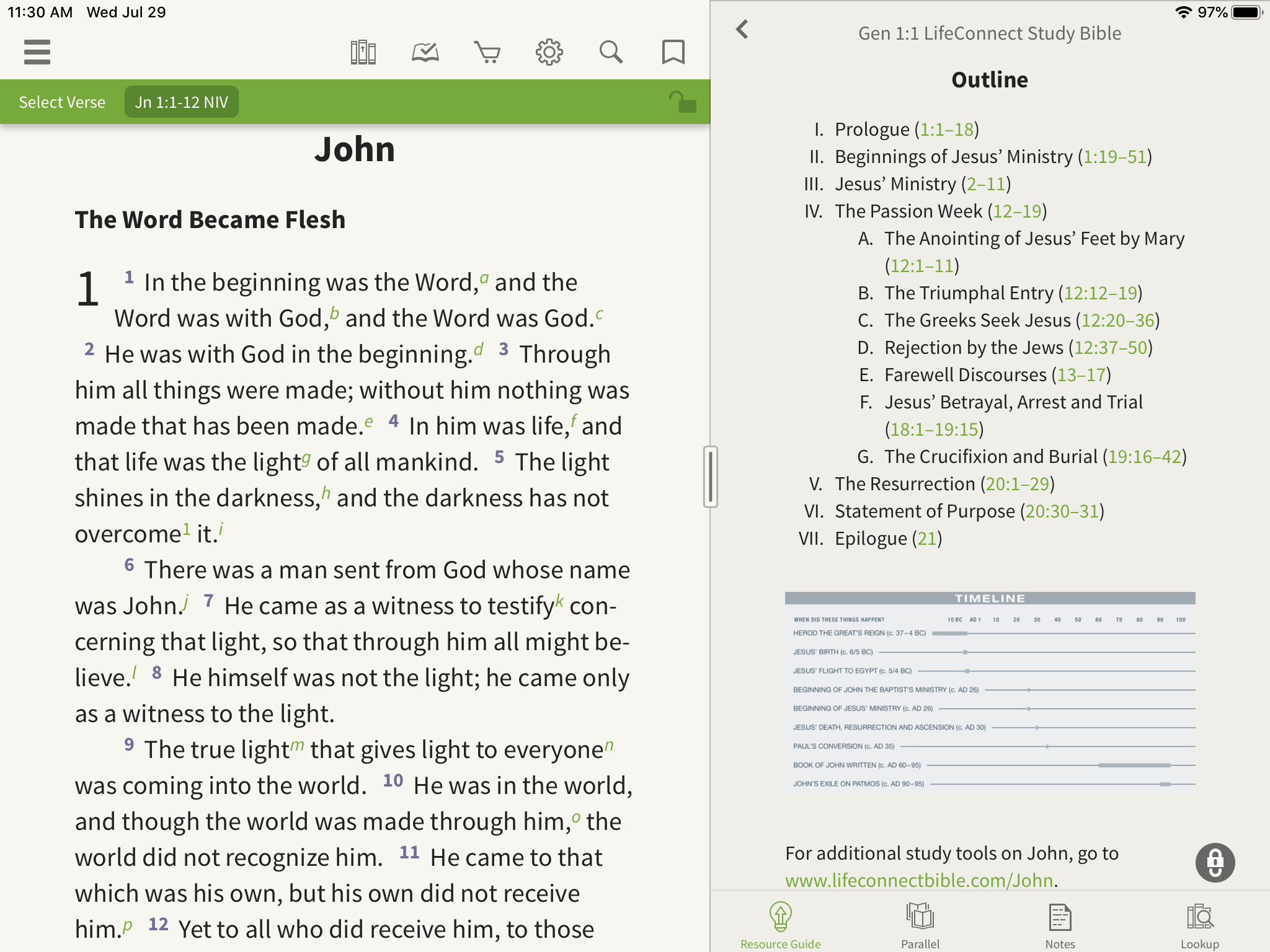 outlines in the olive tree bible app