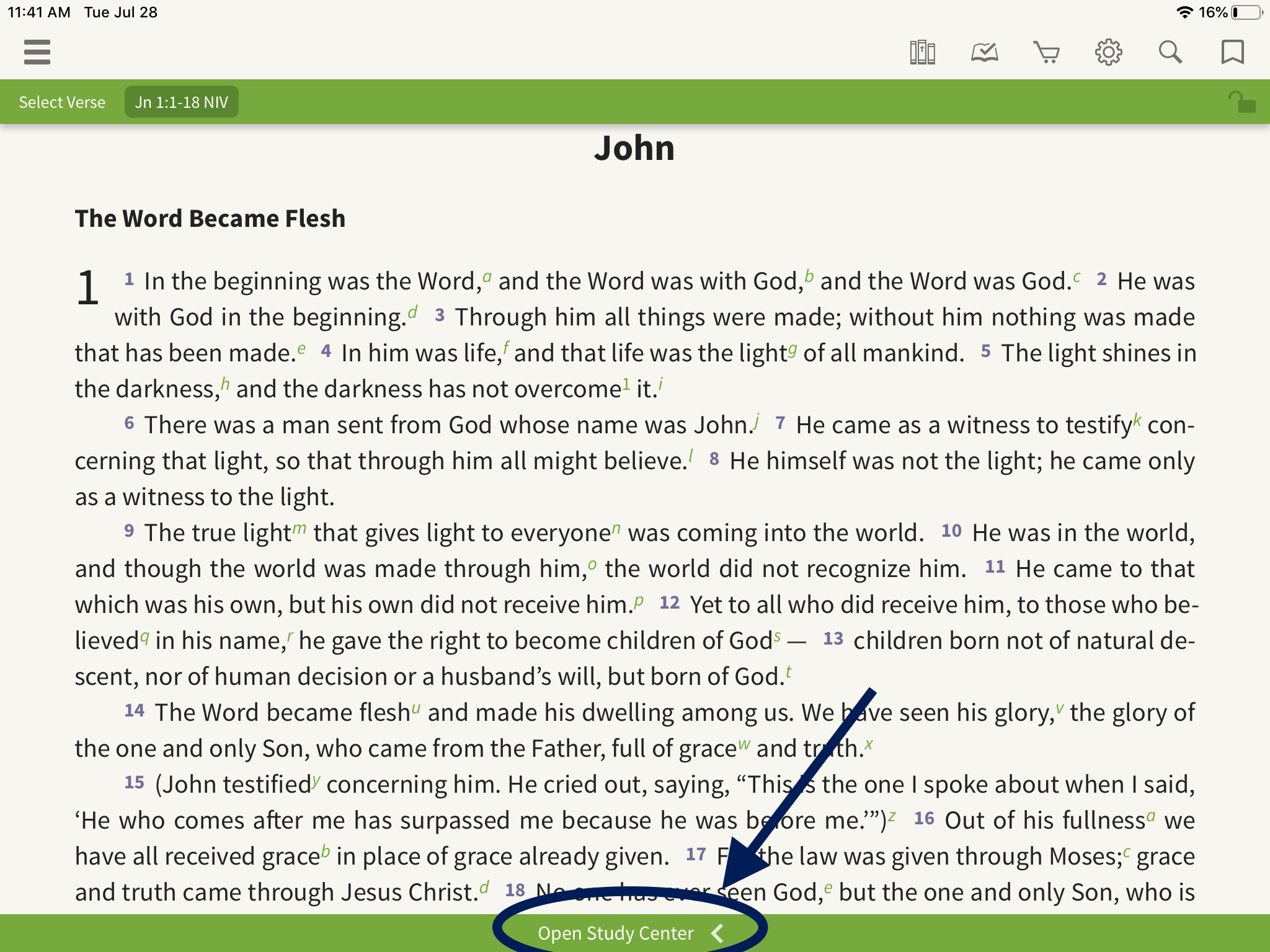 how to open the study center in the olive tree bible app