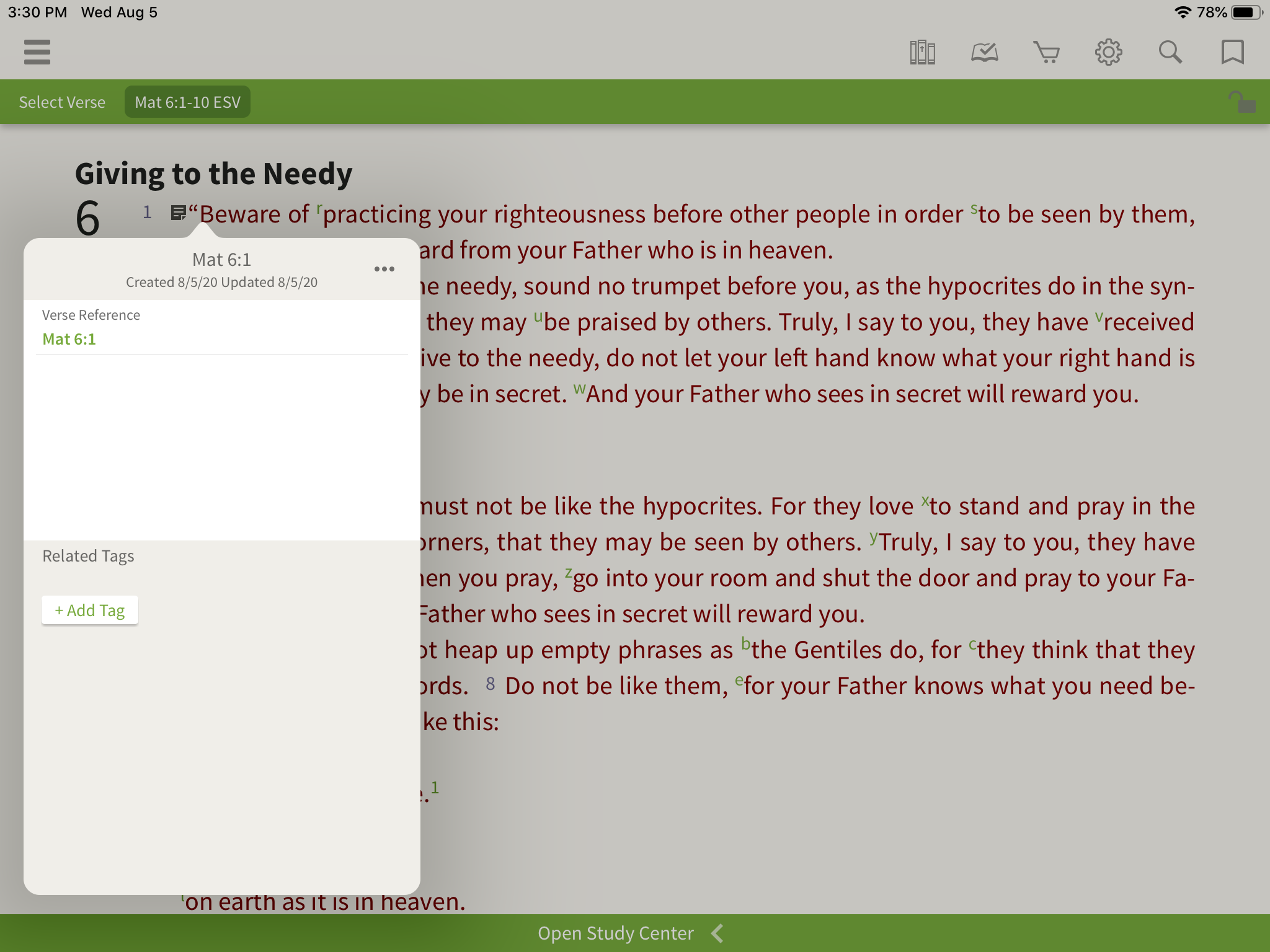 verse-based note in the olive tree bible app