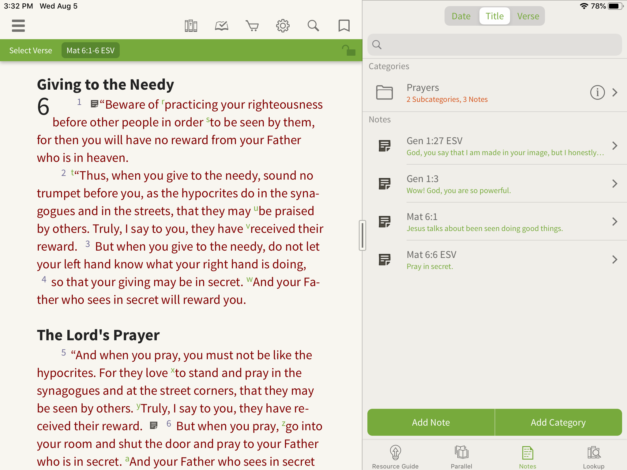 organizing notes in the olive tree bible app
