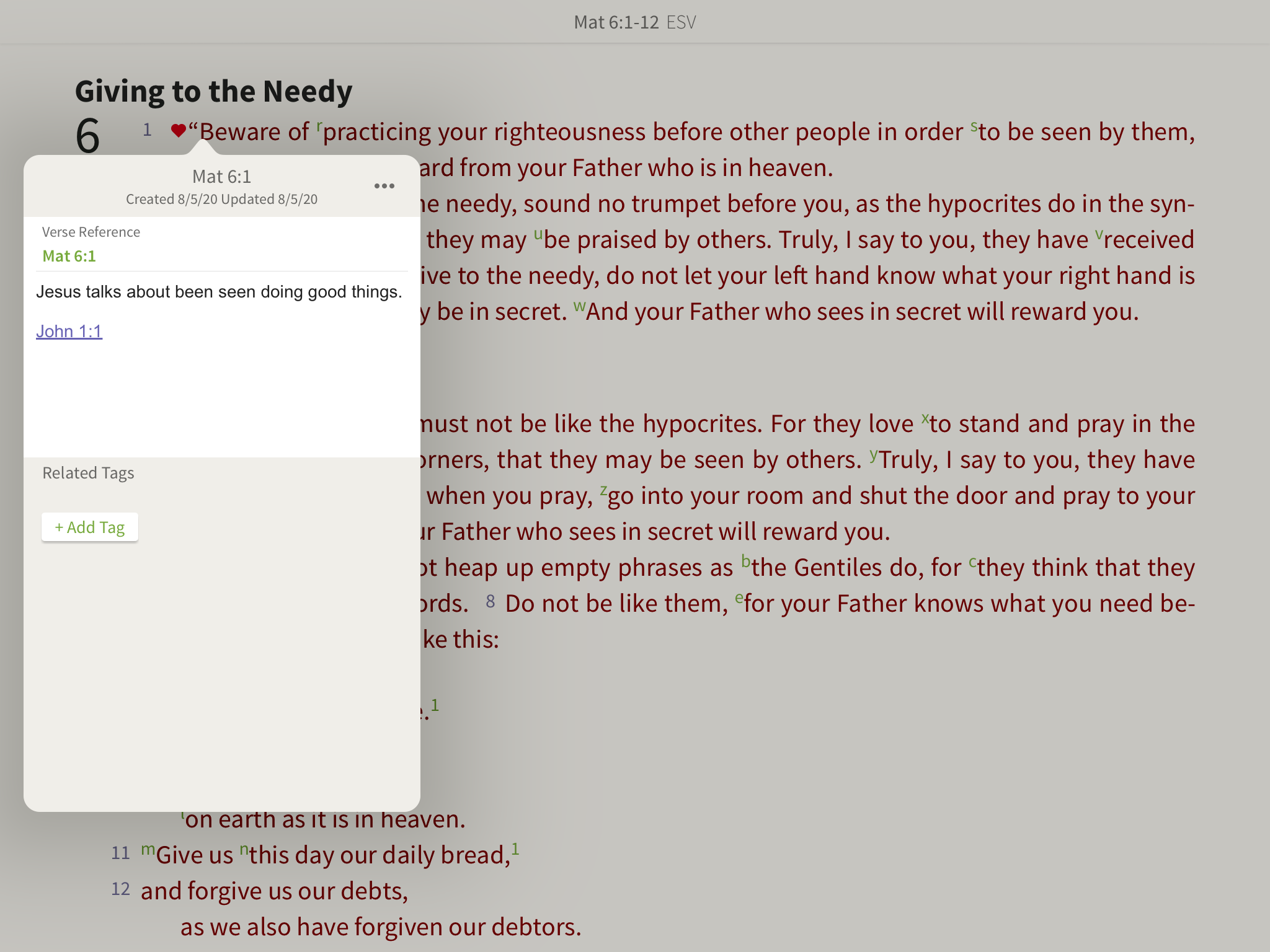 verse references hyperlinking in notes in the olive tree bible app