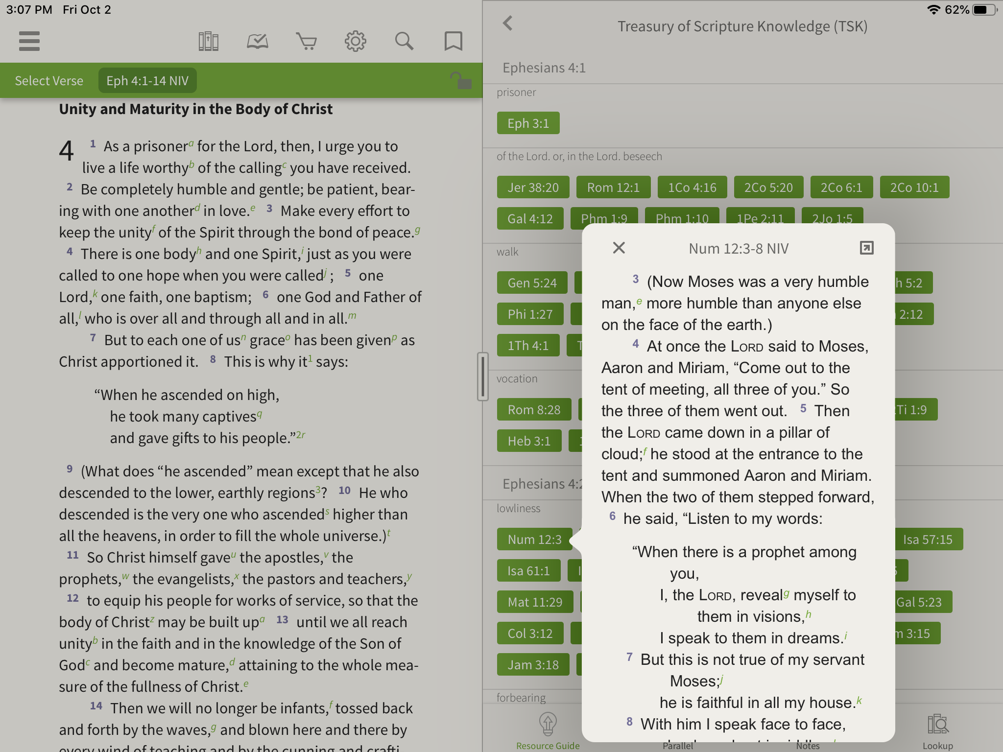 Opening a Cross Reference in the Olive Tree Bible App